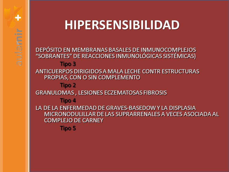HIPERSENSIBILIDAD DEPÓSITO EN MEMBRANAS BASALES DE INMUNOCOMPLEJOS SOBRANTES DE REACCIONES INMUNOLÓGICAS SISTÉMICAS) Tipo 3 Tipo 3 ANTICUERPOS DIRIGIDOS A MALA LECHE CONTR ESTRUCTURAS PROPIAS, CON O SIN COMPLEMENTO Tipo 2 Tipo 2 GRANULOMAS, LESIONES ECZEMATOSAS FIBROSIS Tipo 4 Tipo 4 LA DE LA ENFERMEDAD DE GRAVES-BASEDOW Y LA DISPLASIA MICRONODULILLAR DE LAS SUPRARRENALES A VECES ASOCIADA AL COMPLEJO DE CARNEY Tipo 5 Tipo 5