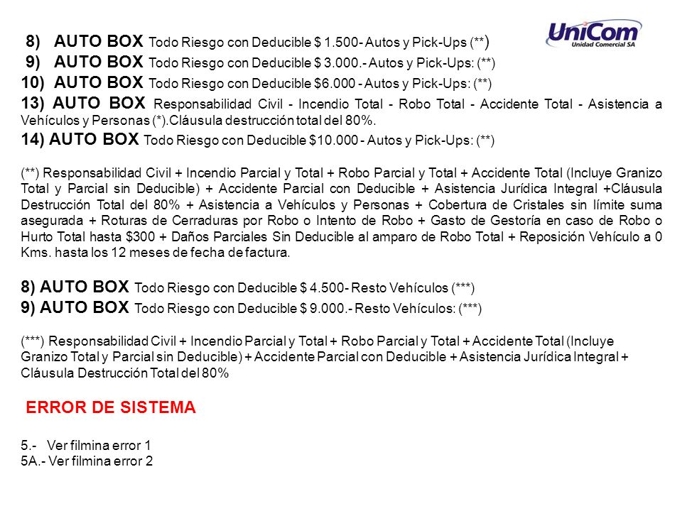 8) AUTO BOX Todo Riesgo con Deducible $ 1.500- Autos y Pick-Ups (** ) 9) AUTO BOX Todo Riesgo con Deducible $ 3.000.- Autos y Pick-Ups: (**) 10) AUTO