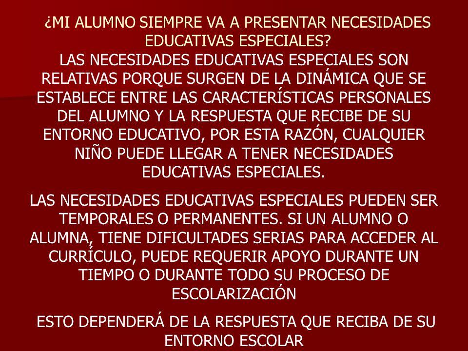 ¿MI ALUMNO SIEMPRE VA A PRESENTAR NECESIDADES EDUCATIVAS ESPECIALES? LAS NECESIDADES EDUCATIVAS ESPECIALES SON RELATIVAS PORQUE SURGEN DE LA DINÁMICA
