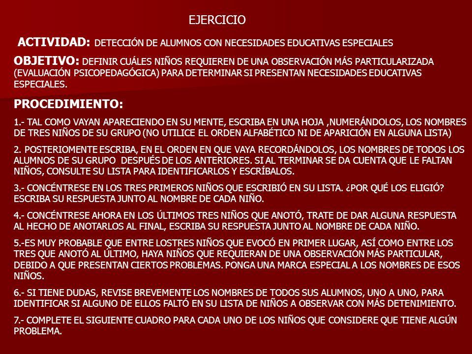 EJERCICIO ACTIVIDAD: DETECCIÓN DE ALUMNOS CON NECESIDADES EDUCATIVAS ESPECIALES OBJETIVO: DEFINIR CUÁLES NIÑOS REQUIEREN DE UNA OBSERVACIÓN MÁS PARTIC