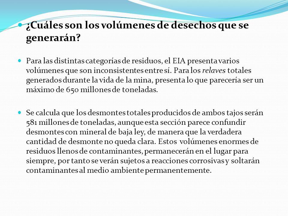 ¿Cuáles son los volúmenes de desechos que se generarán? Para las distintas categorías de residuos, el EIA presenta varios volúmenes que son inconsiste
