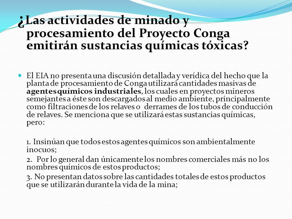 ¿ Las actividades de minado y procesamiento del Proyecto Conga emitirán sustancias químicas tóxicas? El EIA no presenta una discusión detallada y verí