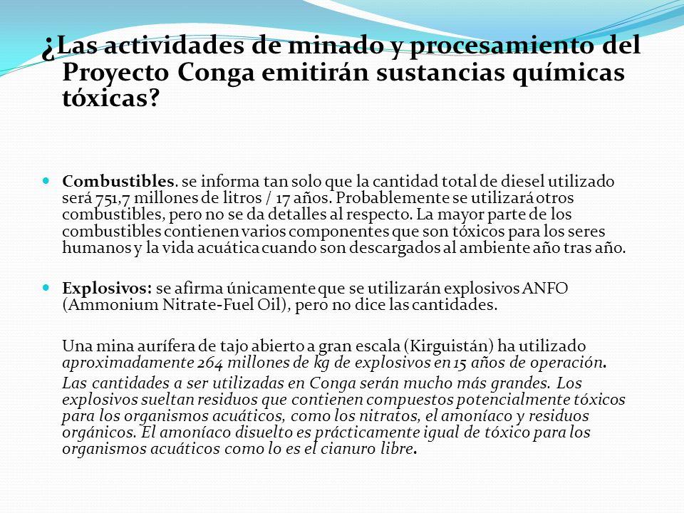 ¿ Las actividades de minado y procesamiento del Proyecto Conga emitirán sustancias químicas tóxicas? Combustibles. se informa tan solo que la cantidad
