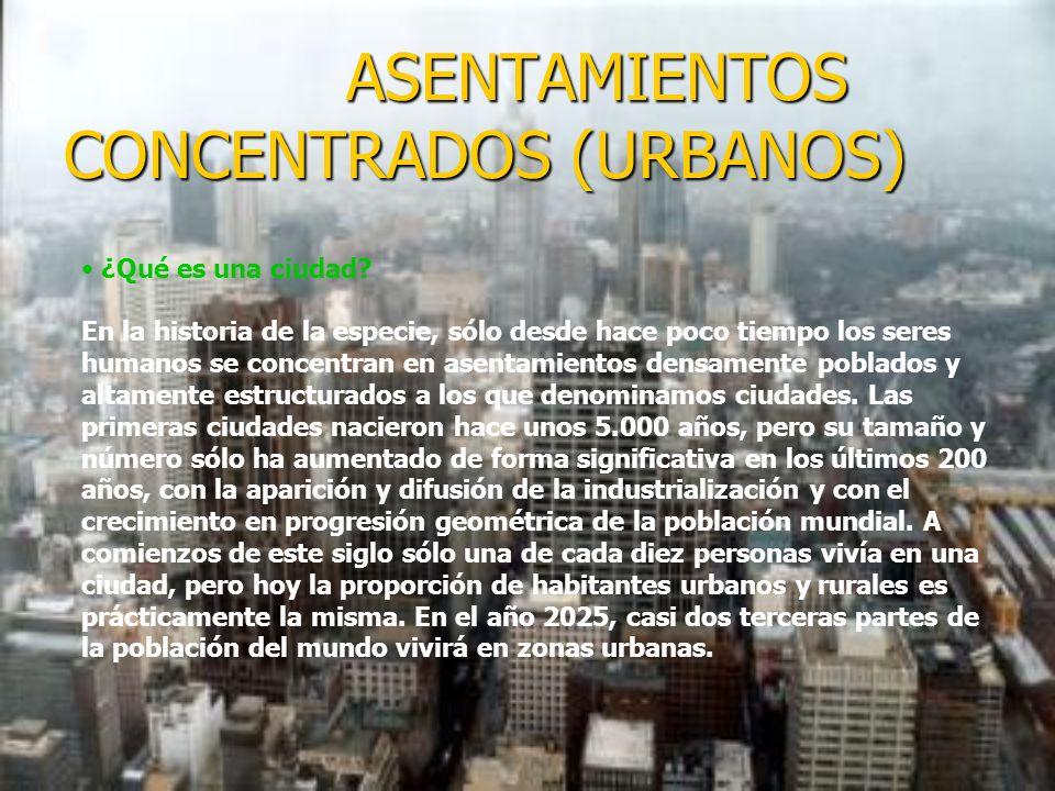 ASENTAMIENTOS CONCENTRADOS (URBANOS) ASENTAMIENTOS CONCENTRADOS (URBANOS) ¿Qué es una ciudad.