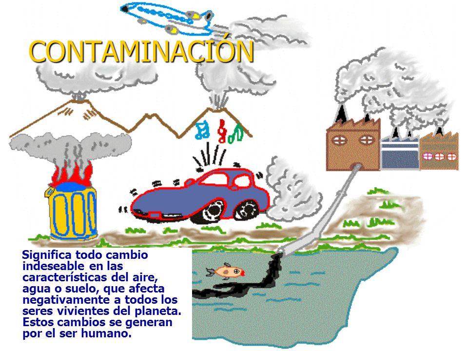 CONTAMINACIÓN Significa todo cambio indeseable en las características del aire, agua o suelo, que afecta negativamente a todos los seres vivientes del planeta.