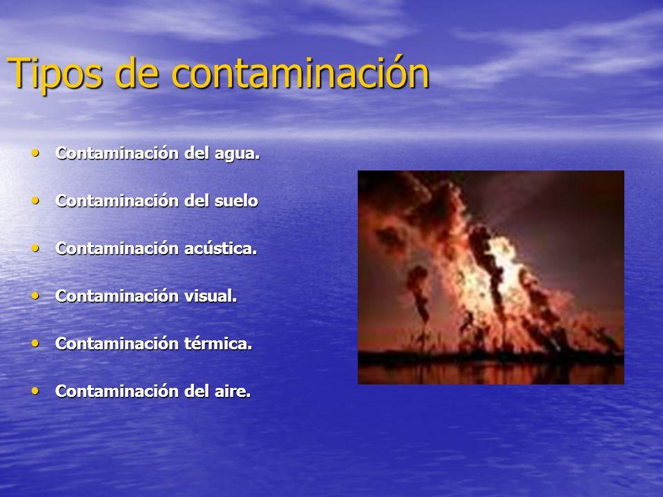 Tipos de contaminación Contaminación del agua.Contaminación del agua.