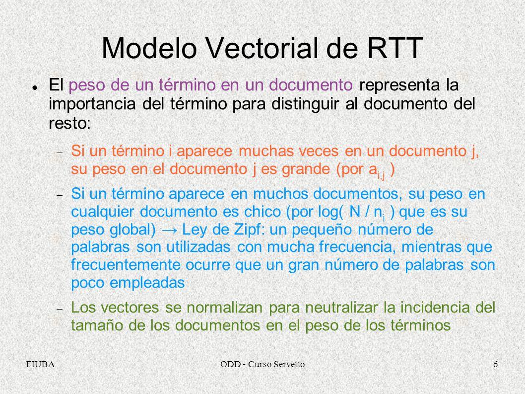 FIUBAODD - Curso Servetto6 Modelo Vectorial de RTT El peso de un término en un documento representa la importancia del término para distinguir al docu
