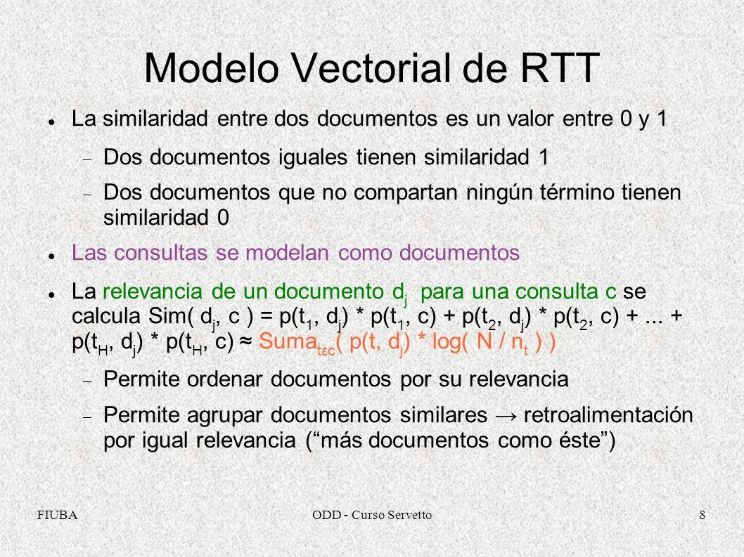 FIUBAODD - Curso Servetto8 Modelo Vectorial de RTT La similaridad entre dos documentos es un valor entre 0 y 1 Dos documentos iguales tienen similarid