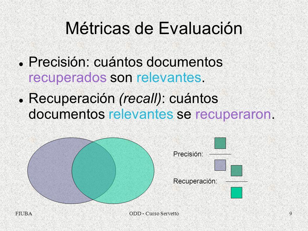 FIUBAODD - Curso Servetto9 Métricas de Evaluación Precisión: cuántos documentos recuperados son relevantes. Recuperación (recall): cuántos documentos