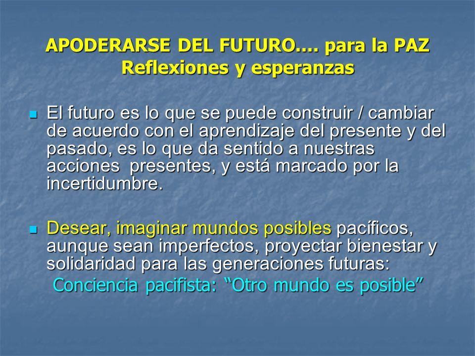 APODERARSE DEL FUTURO.... para la PAZ Reflexiones y esperanzas El futuro es lo que se puede construir / cambiar de acuerdo con el aprendizaje del pres