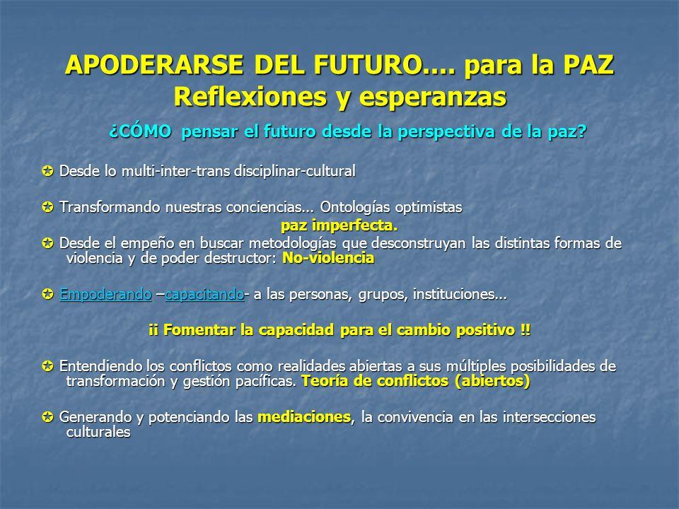 APODERARSE DEL FUTURO.... para la PAZ Reflexiones y esperanzas ¿CÓMO pensar el futuro desde la perspectiva de la paz? Desde lo multi-inter-trans disci