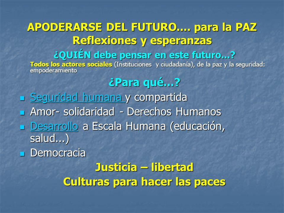 APODERARSE DEL FUTURO.... para la PAZ Reflexiones y esperanzas ¿QUIÉN debe pensar en este futuro...? Todos los actores sociales (Instituciones y ciuda