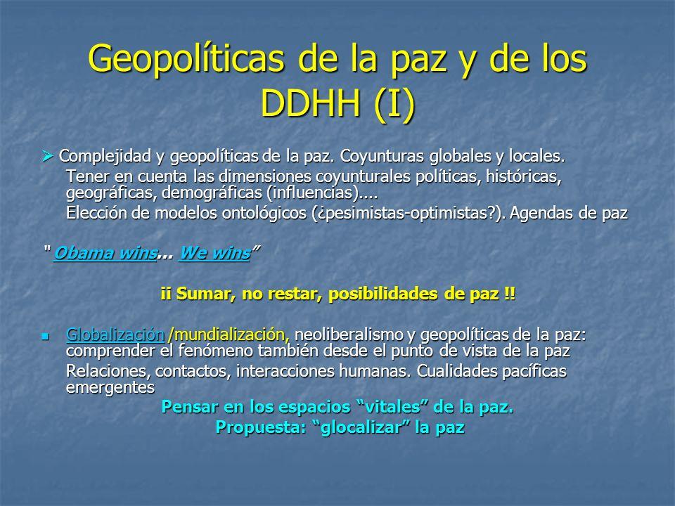 Geopolíticas de la paz y de los DDHH (I) Complejidad y geopolíticas de la paz. Coyunturas globales y locales. Complejidad y geopolíticas de la paz. Co