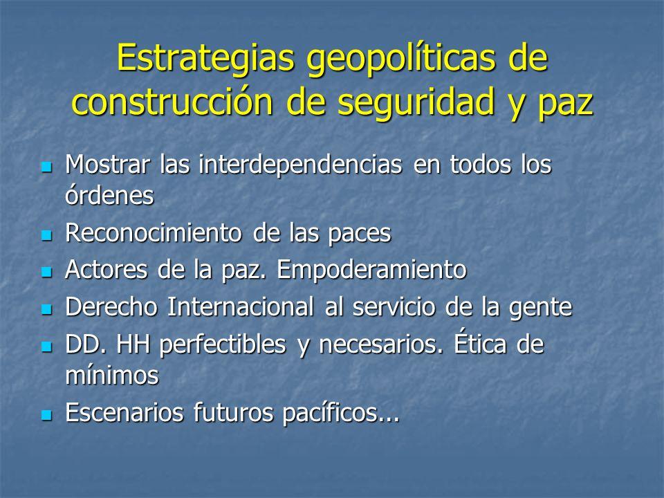 Estrategias geopolíticas de construcción de seguridad y paz Mostrar las interdependencias en todos los órdenes Mostrar las interdependencias en todos