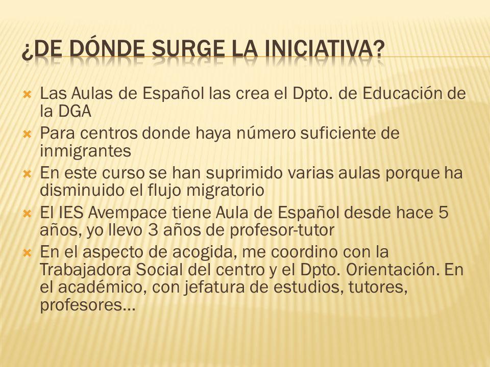 Las Aulas de Español las crea el Dpto.