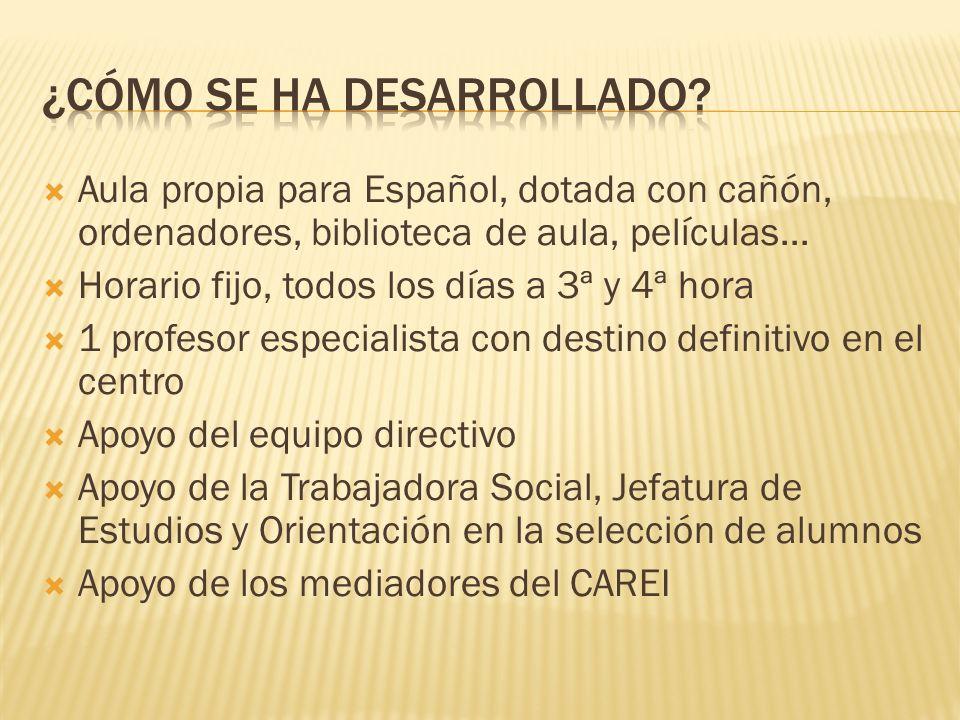 Aula propia para Español, dotada con cañón, ordenadores, biblioteca de aula, películas...