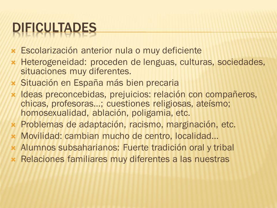 Escolarización anterior nula o muy deficiente Heterogeneidad: proceden de lenguas, culturas, sociedades, situaciones muy diferentes.