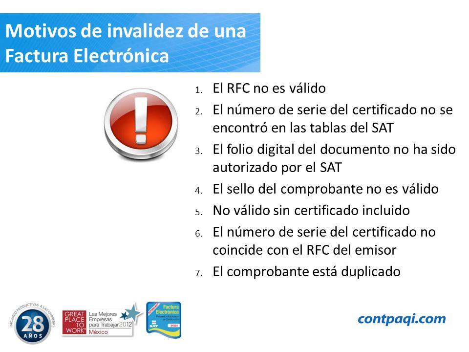 Motivos de invalidez de una Factura Electrónica 1. El RFC no es válido 2. El número de serie del certificado no se encontró en las tablas del SAT 3. E