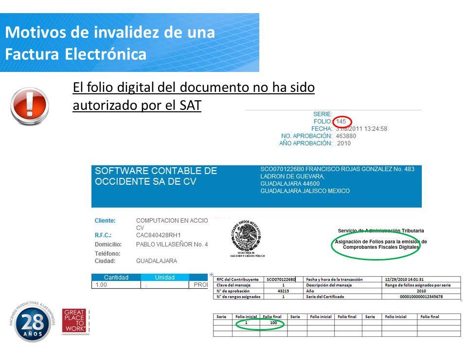 El folio digital del documento no ha sido autorizado por el SAT