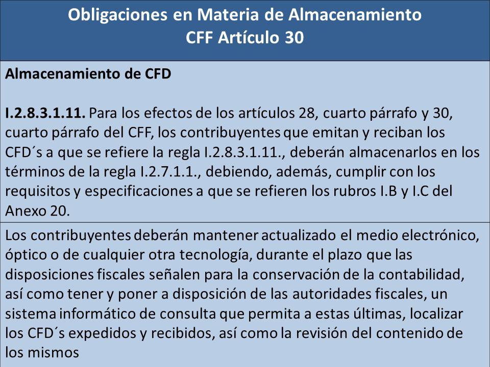 Obligaciones en Materia de Almacenamiento CFF Artículo 30 Almacenamiento de CFD I.2.8.3.1.11. Para los efectos de los artículos 28, cuarto párrafo y 3
