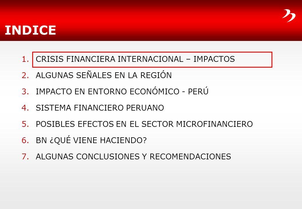 INDICE 1.CRISIS FINANCIERA INTERNACIONAL – IMPACTOS 2.ALGUNAS SEÑALES EN LA REGIÓN 3.IMPACTO EN ENTORNO ECONÓMICO - PERÚ 4.SISTEMA FINANCIERO PERUANO