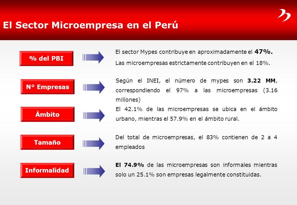 El Sector Microempresa en el Perú El sector Mypes contribuye en aproximadamente el 47%. Las microempresas estrictamente contribuyen en el 18%. % del P