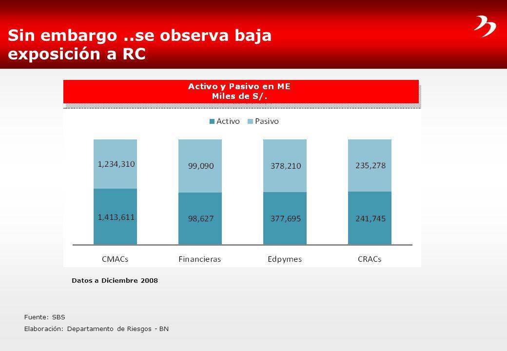 Sin embargo..se observa baja exposición a RC Fuente: SBS Elaboración: Departamento de Riesgos - BN Datos a Diciembre 2008