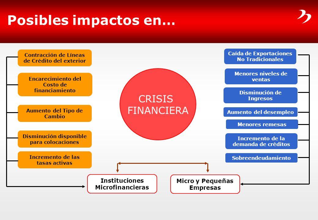 Posibles impactos en… Instituciones Microfinancieras Micro y Pequeñas Empresas Contracción de Líneas de Crédito del exterior Encarecimiento del Costo