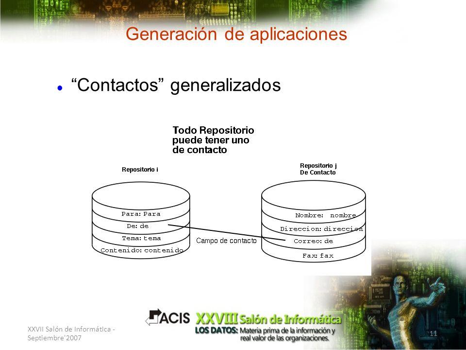 XXVII Salón de Informática - Septiembre'2007 11 Generación de aplicaciones Contactos generalizados
