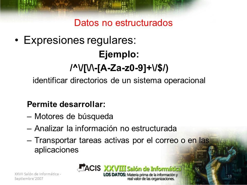 XXVII Salón de Informática - Septiembre'2007 13 Datos no estructurados Expresiones regulares: Ejemplo: /^\/[\/\-[A-Za-z0-9]+\/$/) identificar director