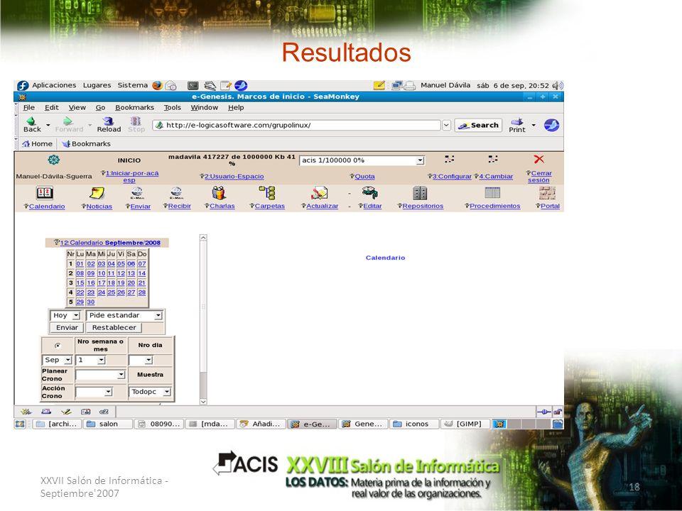 XXVII Salón de Informática - Septiembre'2007 18 Resultados Interfaz