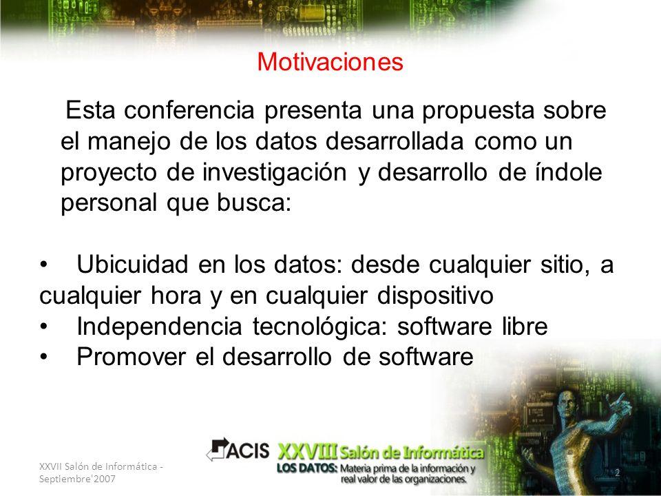 XXVII Salón de Informática - Septiembre'2007 2 Motivaciones Esta conferencia presenta una propuesta sobre el manejo de los datos desarrollada como un