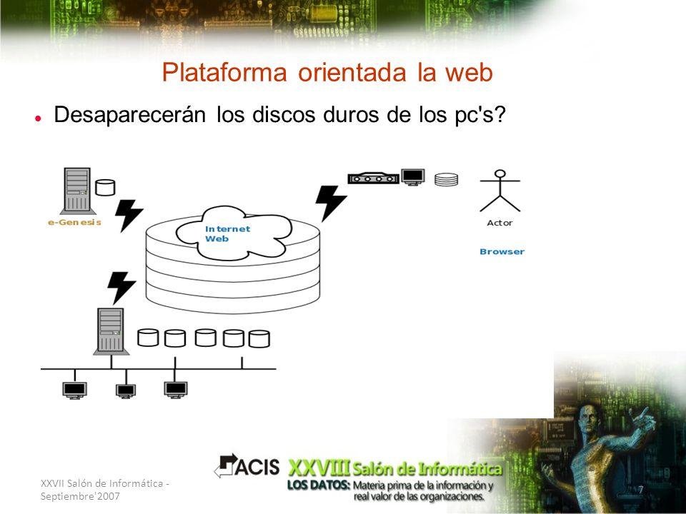 XXVII Salón de Informática - Septiembre'2007 7 Plataforma orientada la web Desaparecerán los discos duros de los pc's?