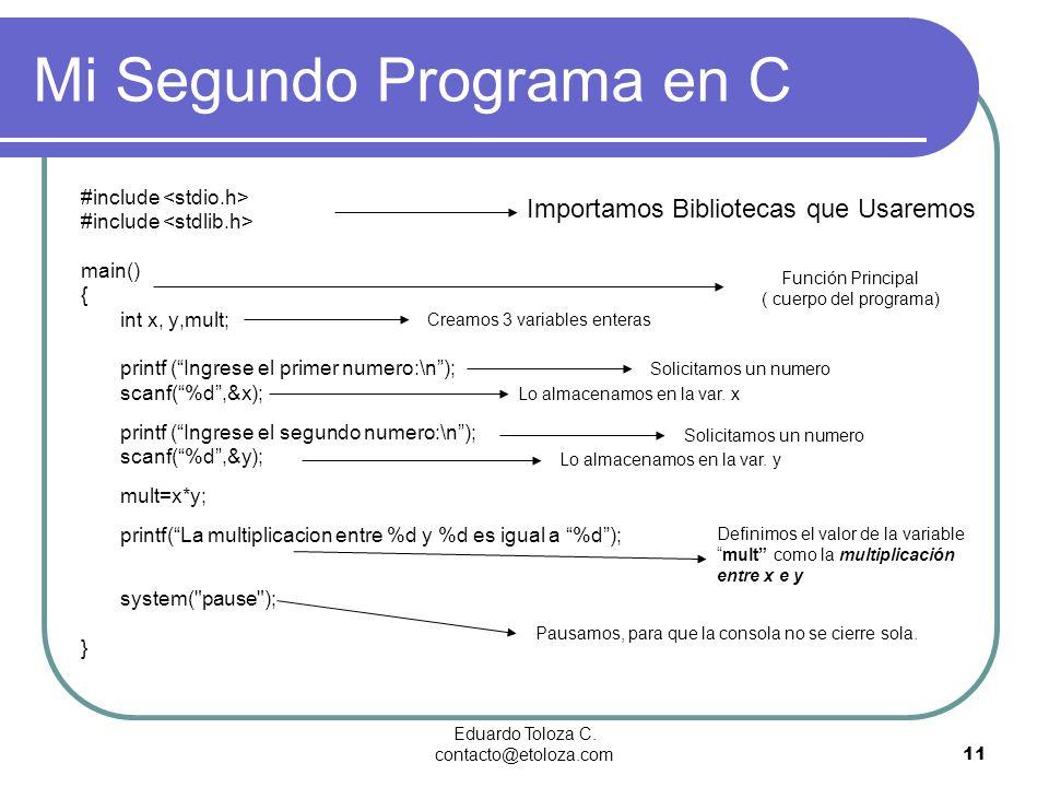 Eduardo Toloza C. contacto@etoloza.com11 #include main() { int x, y,mult; printf (Ingrese el primer numero:\n); scanf(%d,&x); printf (Ingrese el segun