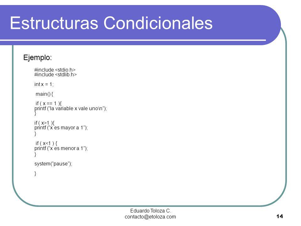 Eduardo Toloza C. contacto@etoloza.com14 Estructuras Condicionales Ejemplo: #include #include int x = 1; main() { if ( x == 1 ){ printf (la variable x