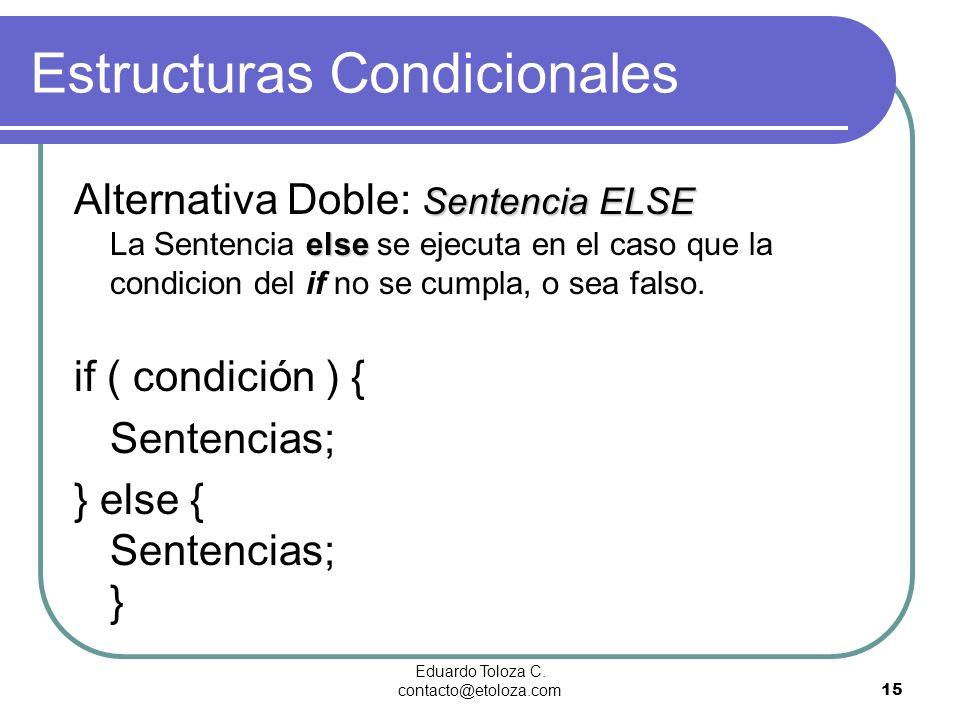 Eduardo Toloza C. contacto@etoloza.com15 Estructuras Condicionales Sentencia ELSE else Alternativa Doble: Sentencia ELSE La Sentencia else se ejecuta