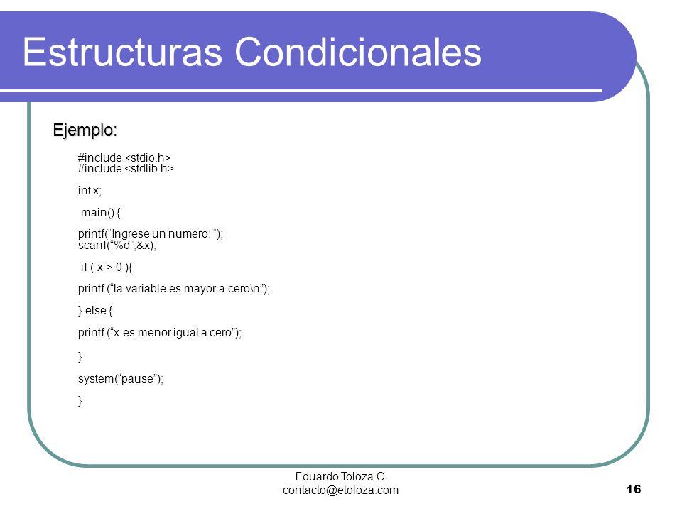 Eduardo Toloza C. contacto@etoloza.com16 Estructuras Condicionales Ejemplo: #include #include int x; main() { printf(Ingrese un numero: ); scanf(%d,&x