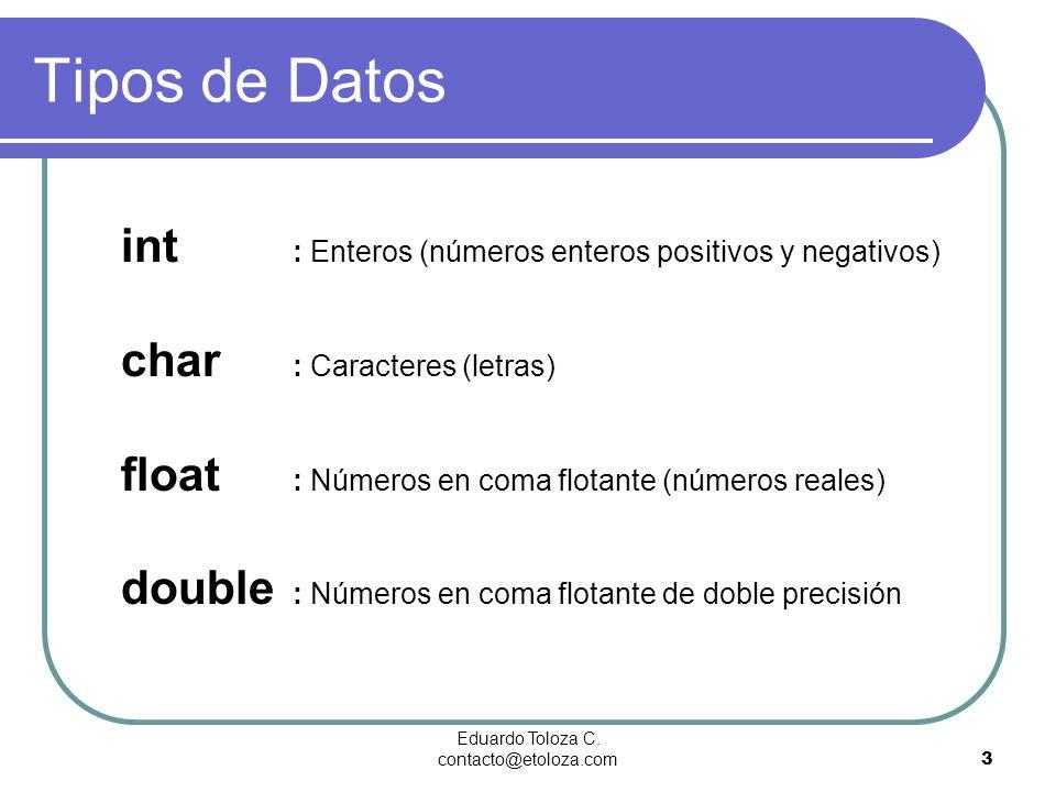 Eduardo Toloza C. contacto@etoloza.com3 Tipos de Datos int : Enteros (números enteros positivos y negativos) char : Caracteres (letras) float : Número