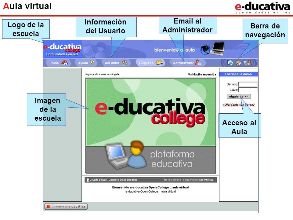 Aula virtual Imagen de la escuela Logo de la escuela Información del Usuario Email al Administrador Acceso al Aula Barra de navegación