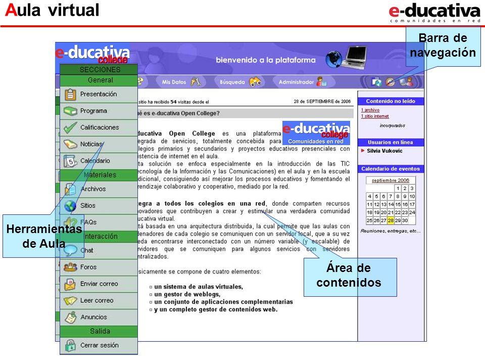Área de contenidos Aula virtual Herramientas de Aula Barra de navegación
