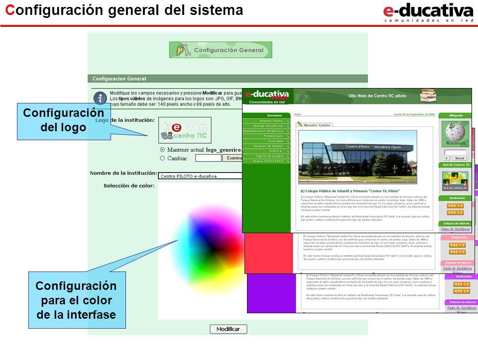 Configuración general del sistema Configuración para el color de la interfase Configuración del logo