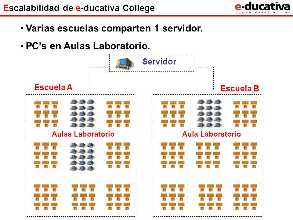 Escalabilidad de e-ducativa College Varias escuelas comparten 1 servidor. PCs en Aulas Laboratorio. Servidor Escuela A Aulas Laboratorio Escuela B Aul