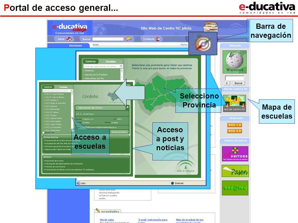 Portal de acceso general... Mapa de escuelas Acceso a escuelas Acceso a post y noticias Barra de navegación Selecciono Provincia
