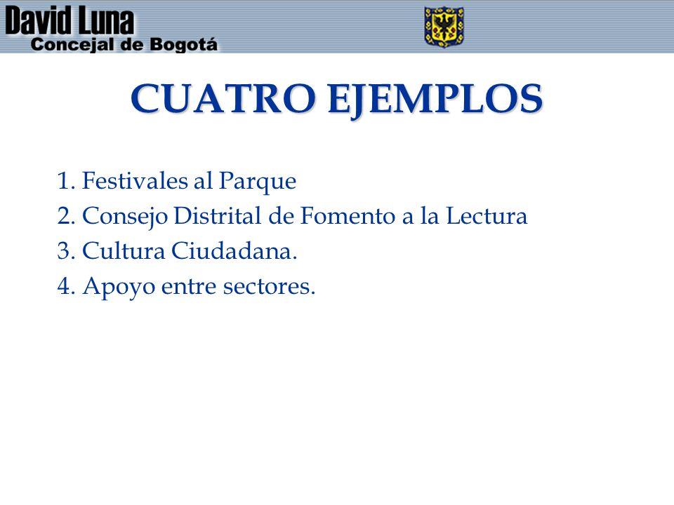 CUATRO EJEMPLOS 1. Festivales al Parque 2. Consejo Distrital de Fomento a la Lectura 3. Cultura Ciudadana. 4. Apoyo entre sectores.
