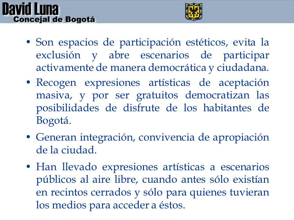 Son espacios de participación estéticos, evita la exclusión y abre escenarios de participar activamente de manera democrática y ciudadana. Recogen exp