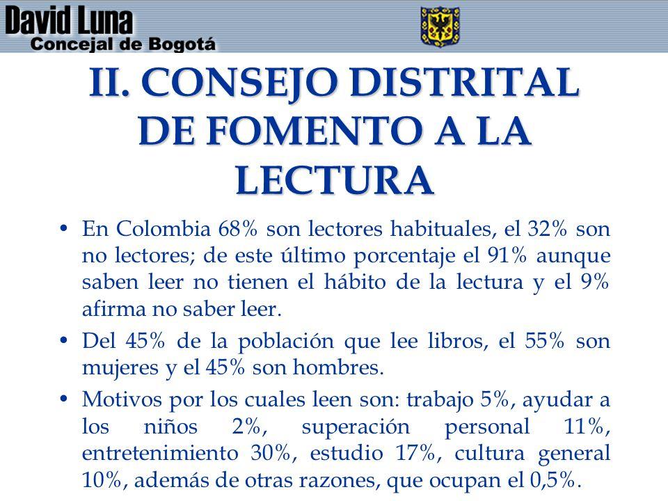 II. CONSEJO DISTRITAL DE FOMENTO A LA LECTURA En Colombia 68% son lectores habituales, el 32% son no lectores; de este último porcentaje el 91% aunque