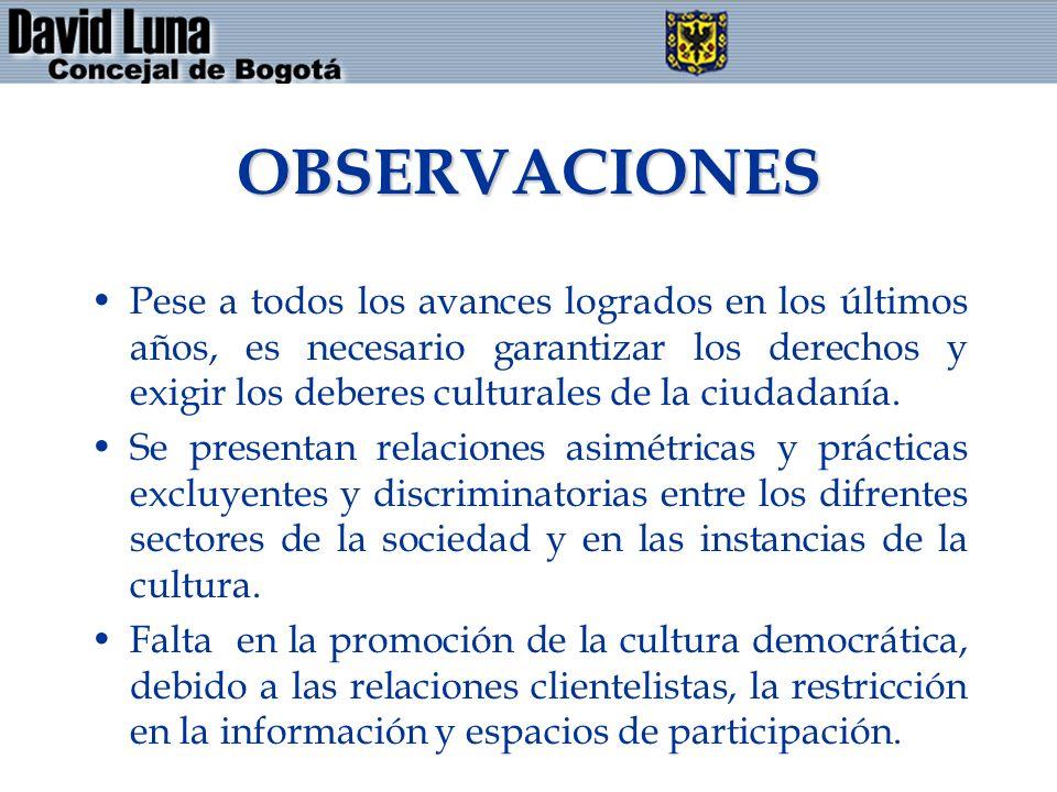 OBSERVACIONES Pese a todos los avances logrados en los últimos años, es necesario garantizar los derechos y exigir los deberes culturales de la ciudadanía.
