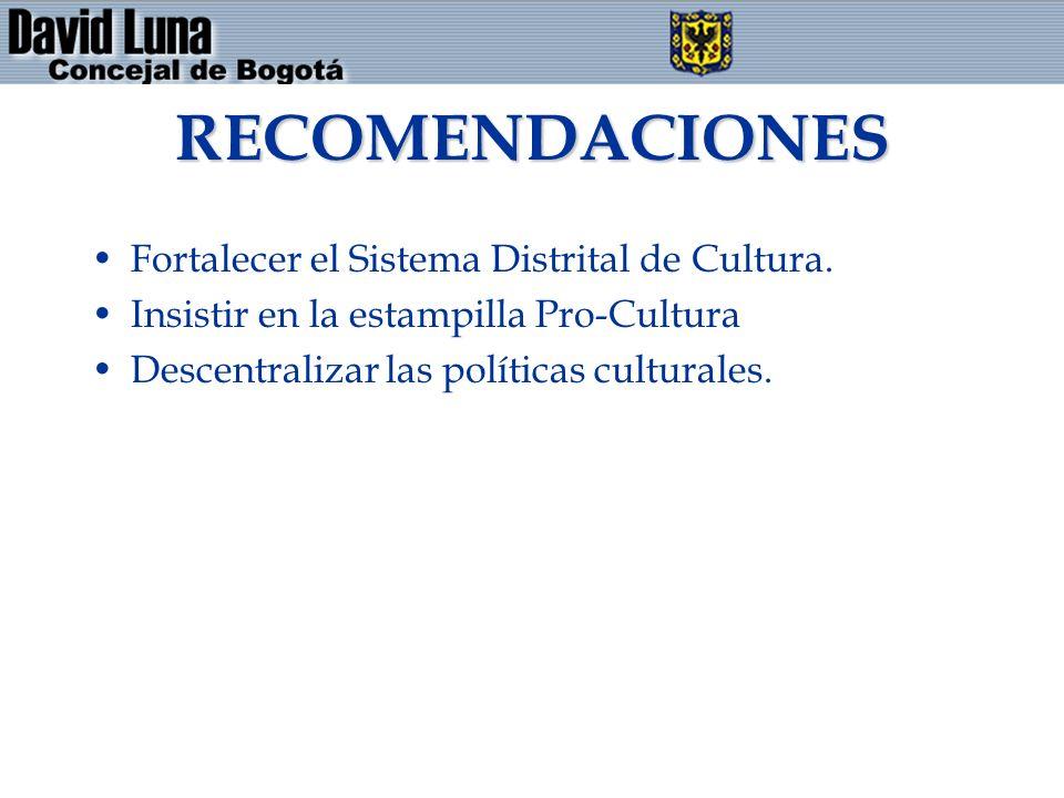 RECOMENDACIONES Fortalecer el Sistema Distrital de Cultura. Insistir en la estampilla Pro-Cultura Descentralizar las políticas culturales.