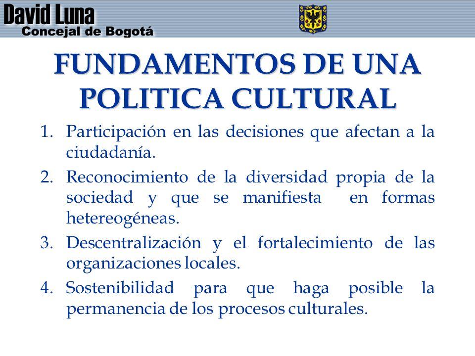 FUNDAMENTOS DE UNA POLITICA CULTURAL 1.Participación en las decisiones que afectan a la ciudadanía. 2.Reconocimiento de la diversidad propia de la soc
