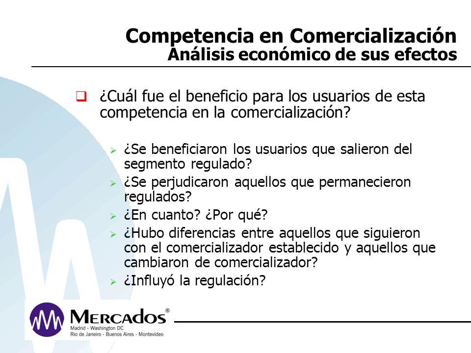 Competencia en Comercialización Análisis económico de sus efectos ¿Cuál fue el beneficio para los usuarios de esta competencia en la comercialización?
